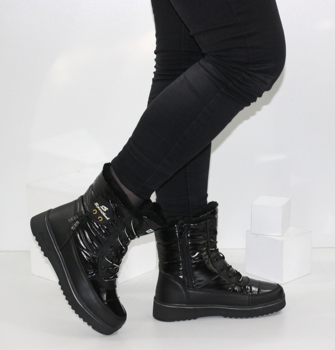 Зимние дутики - ботинки из плащевки на шнурках и молнии черного цвета
