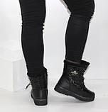 Зимние дутики - ботинки из плащевки на шнурках и молнии черного цвета, фото 3