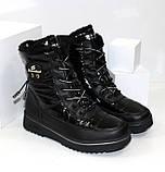 Зимние дутики - ботинки из плащевки на шнурках и молнии черного цвета, фото 4
