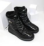 Зимние дутики - ботинки из плащевки на шнурках и молнии черного цвета, фото 5