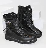 Зимние дутики - ботинки из плащевки на шнурках и молнии черного цвета, фото 6