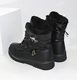 Зимние дутики - ботинки из плащевки на шнурках и молнии черного цвета, фото 7