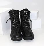 Зимние дутики - ботинки из плащевки на шнурках и молнии черного цвета, фото 8