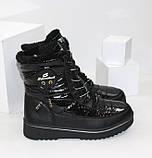 Зимние дутики - ботинки из плащевки на шнурках и молнии черного цвета, фото 9