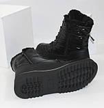 Зимние дутики - ботинки из плащевки на шнурках и молнии черного цвета, фото 10