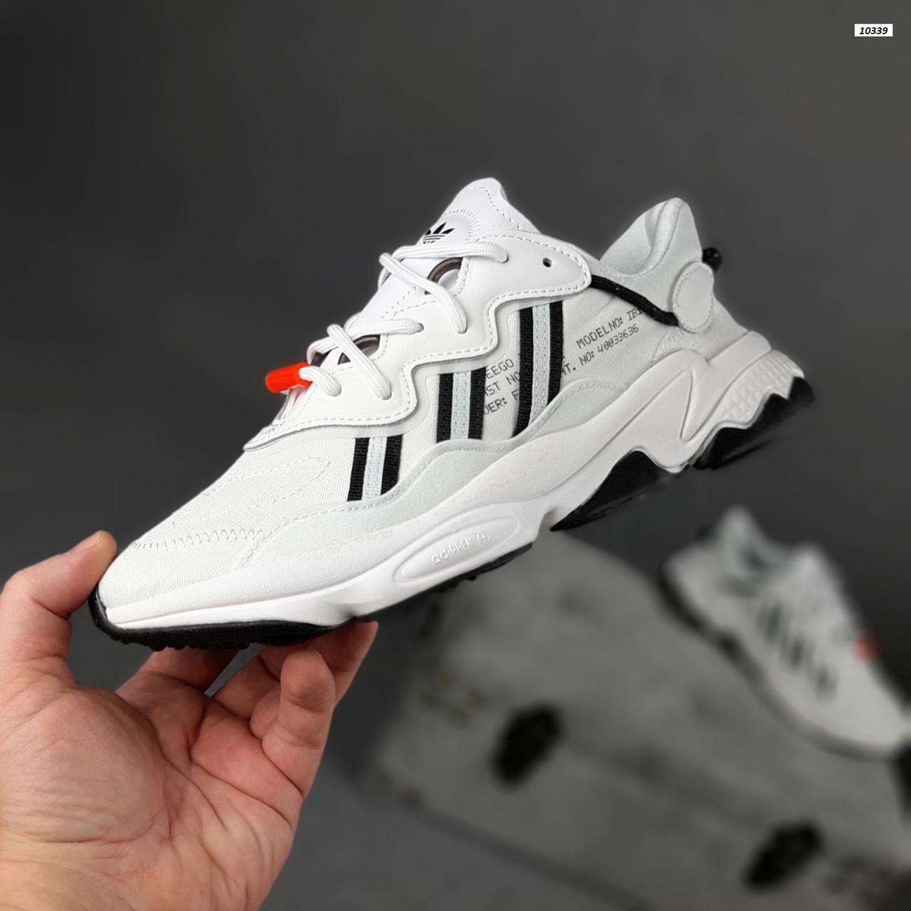 Рефлективные женские кроссовки Adidas Ozweego TR (бело-черные) спортивные весенние кроссы 20259