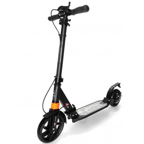 Самокат Urban Scooter с дисковым тормозом на широком колесе чёрный