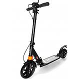 Самокат Urban Scooter с дисковым тормозом на широком колесе чёрный, фото 3