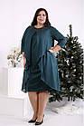 Зелене оригінальне плаття з урочисте имтацией накидки батал 42-74. 01686-2, фото 2