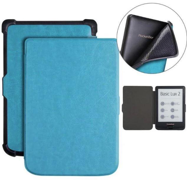 Обложка чехол  для PocketBook 632 Touch HD 3 автосон синий