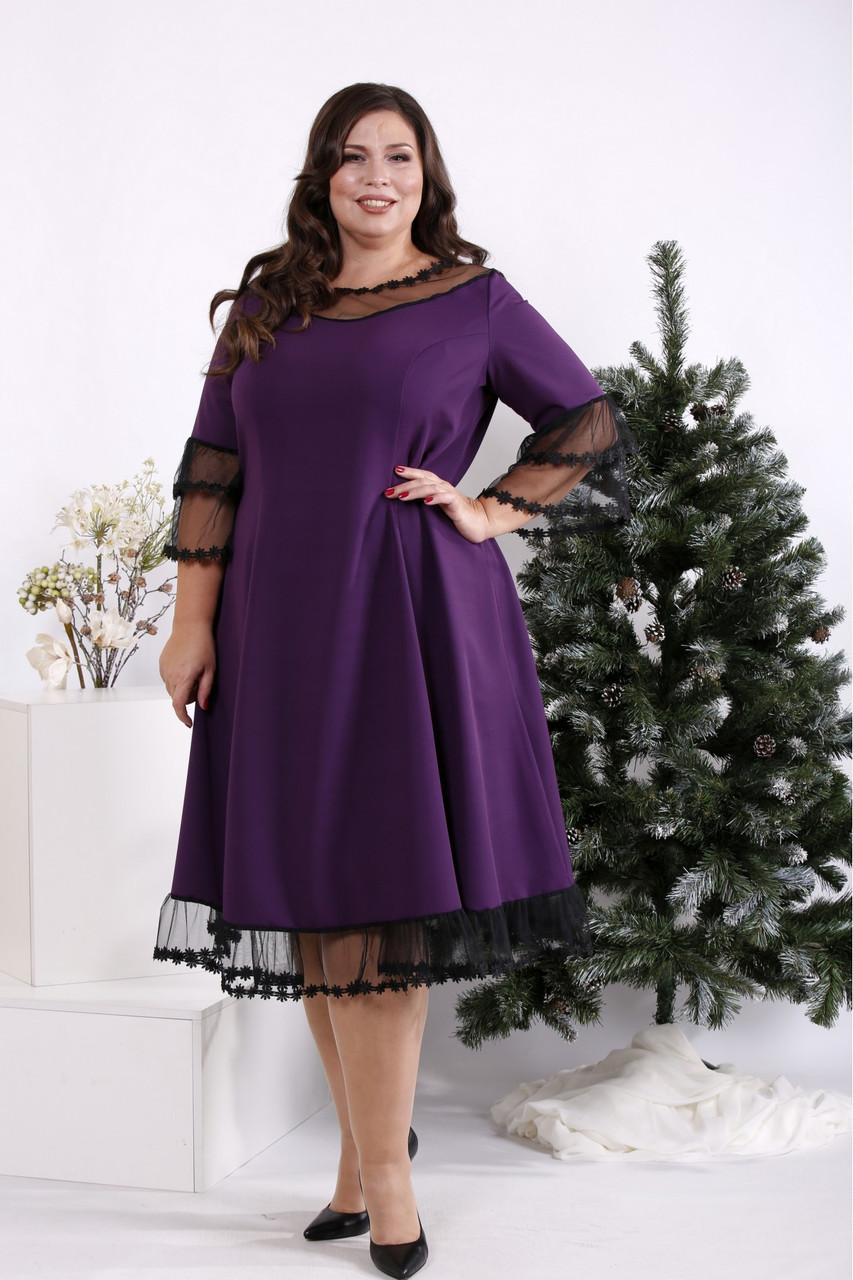 Фіолетове вільний ошатне плаття вільного покрою батал 42-74. 01684-2