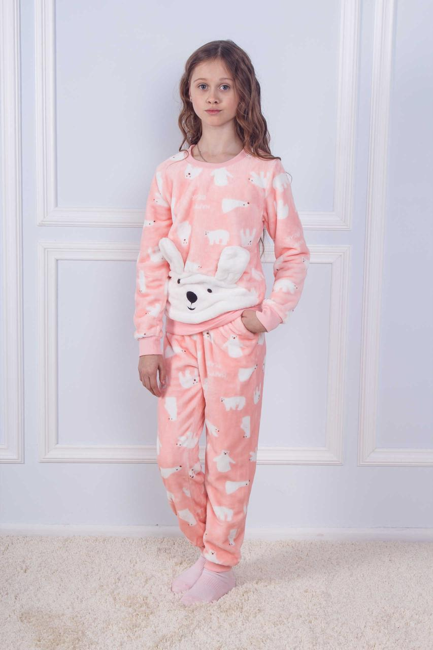 Махровая розовая пижама с принтом белых медведей для девочек 8-14 лет