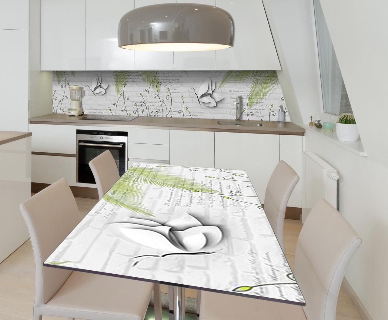 Наклейка 3Д виниловая на стол Zatarga «Бабочки Пышные крылья» 600х1200 мм для домов, квартир, столов,