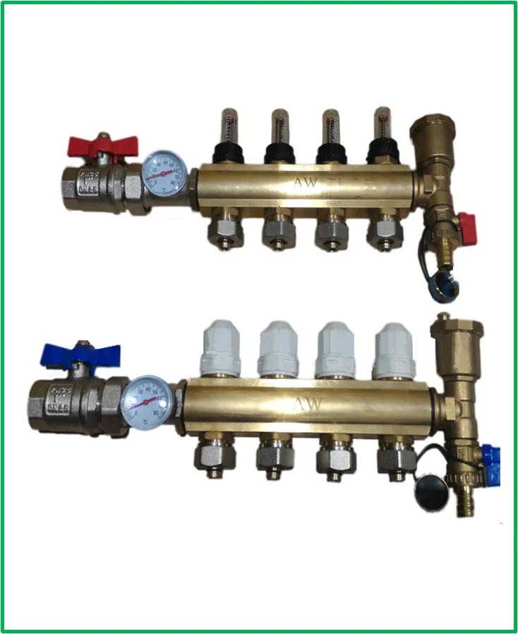 Колектор теплої підлоги AquaWorld для низькотемпературних систем на 10 контурів