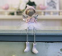 Декоративная новогодняя статуэтка Ангел h7см розовый Гранд Презент 1016569-2 сердечный