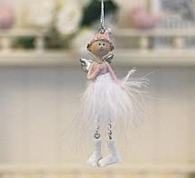 Декоративная подвеска новогодний Ангел h10см розовый Гранд Презент 1016568-2 сердечный