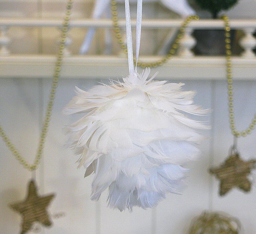 Подвесной декор из перьев белый шар d11см Гранд Презент 1000735
