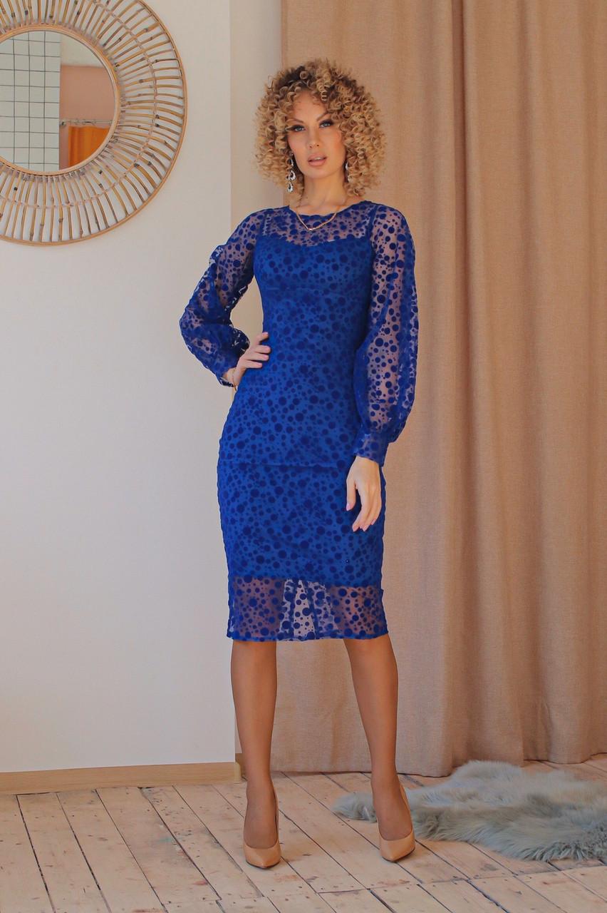 Нарядное платье приталенное из гипюра миди, разного цвета р.42 Код 176N