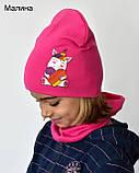 Комплект для дівчинки шапка з хомутом весняний Єдиноріг Лайки, фото 3