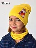 Комплект для дівчинки шапка з хомутом весняний Єдиноріг Лайки, фото 5