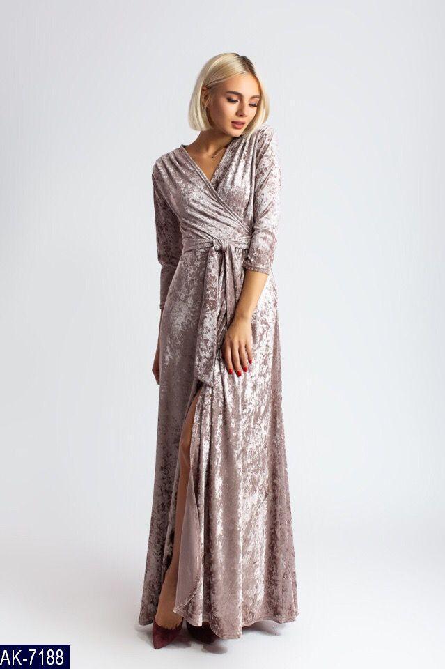 Нарядное бархатное платье с декольте на запах, для шикарных девушек, р.42,44,46 Код 138N
