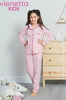 Флисовая розовая пижамав белые сердечки для девочек7-16 лет