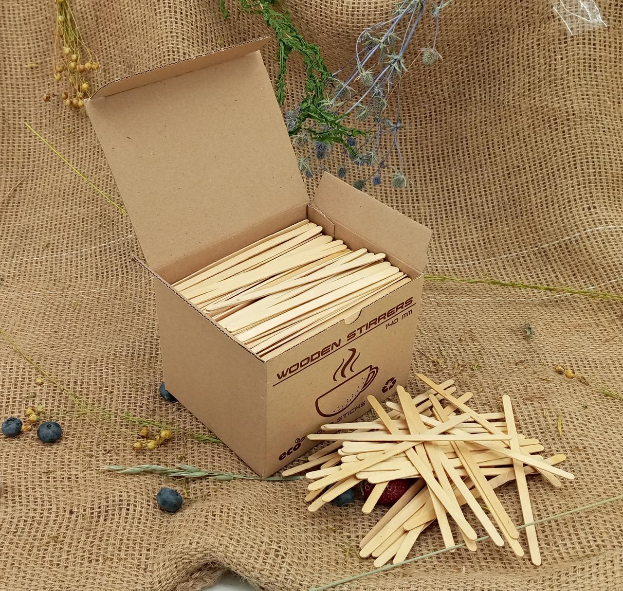 Мешалка ( ЭКО) Деревянная  14см 1000 в коробке (1 пач)