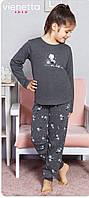 Трикотажная пижама с принтом котенка с клубком для девочек 7-16 лет