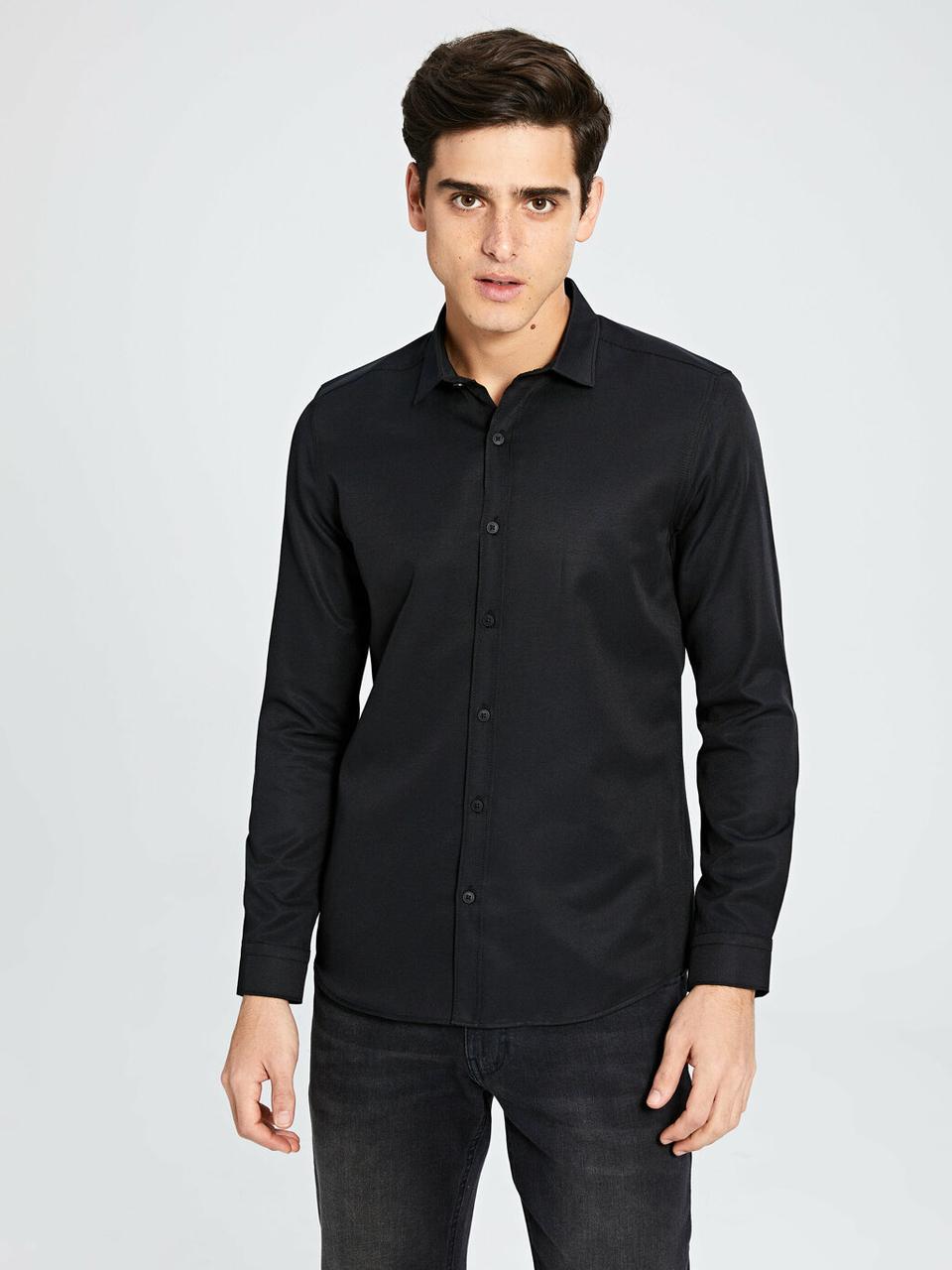 Черная мужская рубашка LC Waikiki / ЛС Вайкики с длинными рукавами, на черных пуговицах