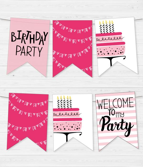 """Бумажная гирлянда """"Birthday mix pink"""" (12 флажков)"""