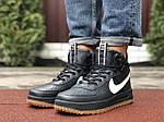 Весенние мужские кроссовки Nike Lunar Force 1 (темно-синие с белым) высокие спортивные кроссы 10146, фото 3