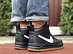 Весенние мужские кроссовки Nike Lunar Force 1 (темно-синие с белым) высокие спортивные кроссы 10146, фото 5