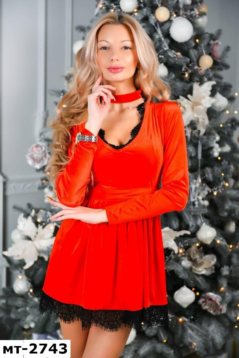 Женское вечернее бархатное платье с чокером 2 цвета