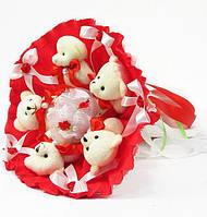 Букет из игрушек Мишки 5 красный 5289IT, фото 1