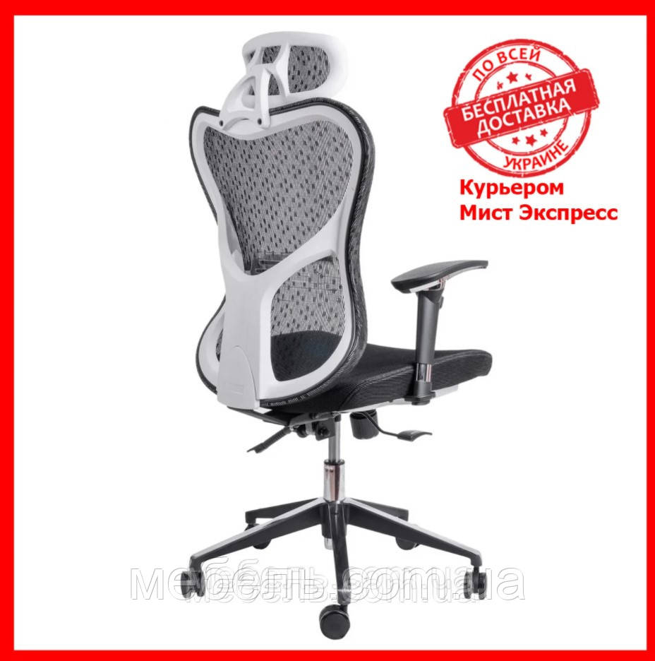 Кресло для врача Barsky Fly-03 Butterfly White/Black, сеточное кресло, белый / черный
