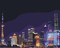 """Городской пейзаж """"Ночной Шанхай"""" 40*50см KHO3507, фото 1"""