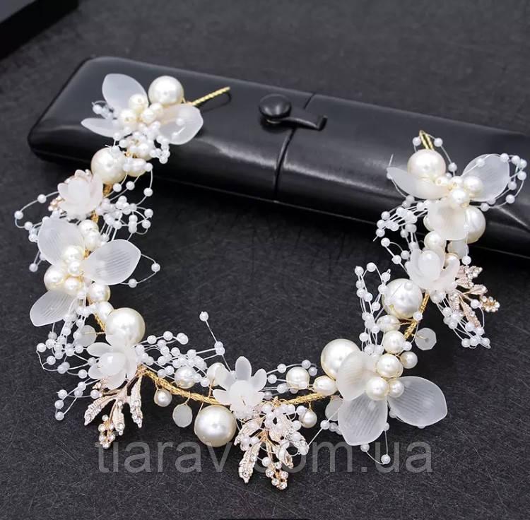 Весільний віночок для волосся, вінок з квітів, тіара з квітів