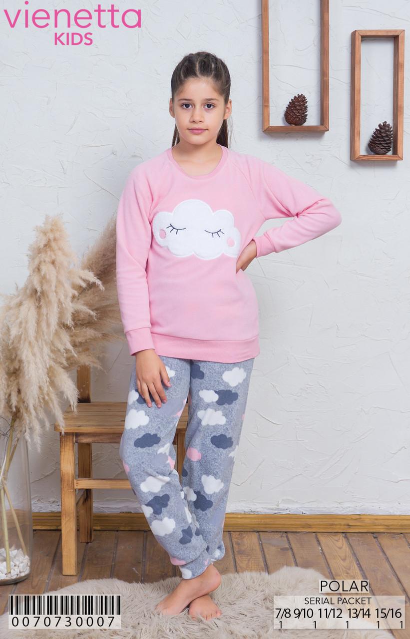 Флисовая пижама с принтом облаков для девочек 7-16 лет