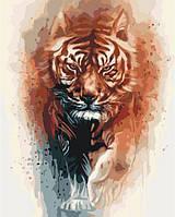 """Картина по номерам. Животные, птицы """"Огненная сила тигра"""" 40х50см KHO4037"""