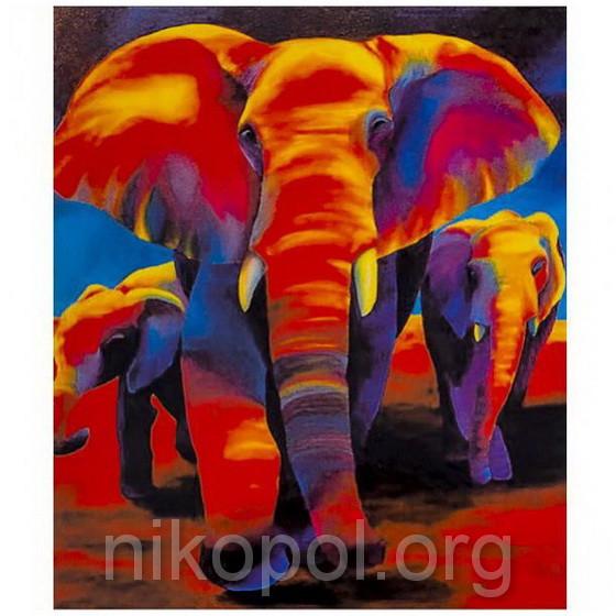 """Картина по номерам """"Слоны"""" на полотне, большая 400*500мм №30378"""