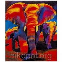 """Картина по номерам """"Слоны"""" на полотне, большая 400*500мм №30378, фото 1"""