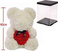 Мишка из роз c сердцем 40см Bear Flowers B2 White, фото 1