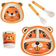 Детская бамбуковая посуда Тигренок, набор из 2-х тарелок, чашки, ложки и вилки BP20 Tiger