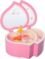 Шкатулка X12527P (Розовая) заводная, сердце, 15см, муз,свет, на бат(таб), в кор-ке,12,5-15,5-7,5см (Розовая)