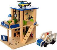 Деревянная игрушка Гараж MD 1059-1 Полиция, 2 этажа,транспорт,в кор-ке,39-28-8см, фото 1
