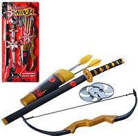 Набор ниндзя 709146 меч,лук,стрелы-присоски3шт,сюрикены2шт, на листе,27,5-59,5-5,5см, фото 1