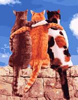 """Картина по номерам. Brushme """" Три кота в обнимку """" GX23866"""
