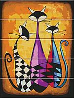 """Картина по номерам по дереву. """"Три кота"""" ASW018, фото 1"""