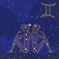 """Картина по номерам - """"Звездный знак Близнецы"""" с краской металлик 50*50см KH9506"""