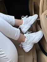 Белые кожанные кроссовки Nike M2K Tekno white Найк М2К техно белые